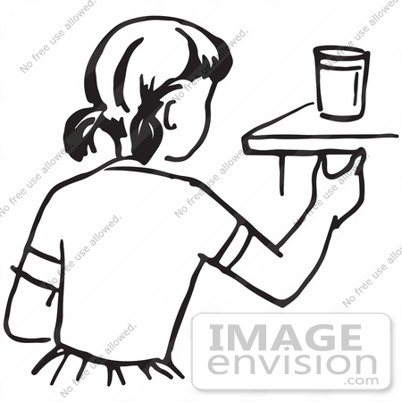 450x450 Clipart Of A Girl Reaching For A Cup In Black And White