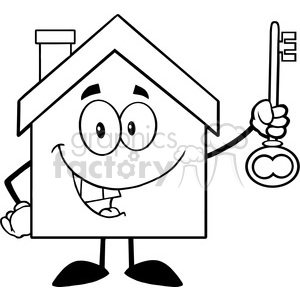 300x300 Royalty Free 6483 Royalty Free Clip Art Black And White House