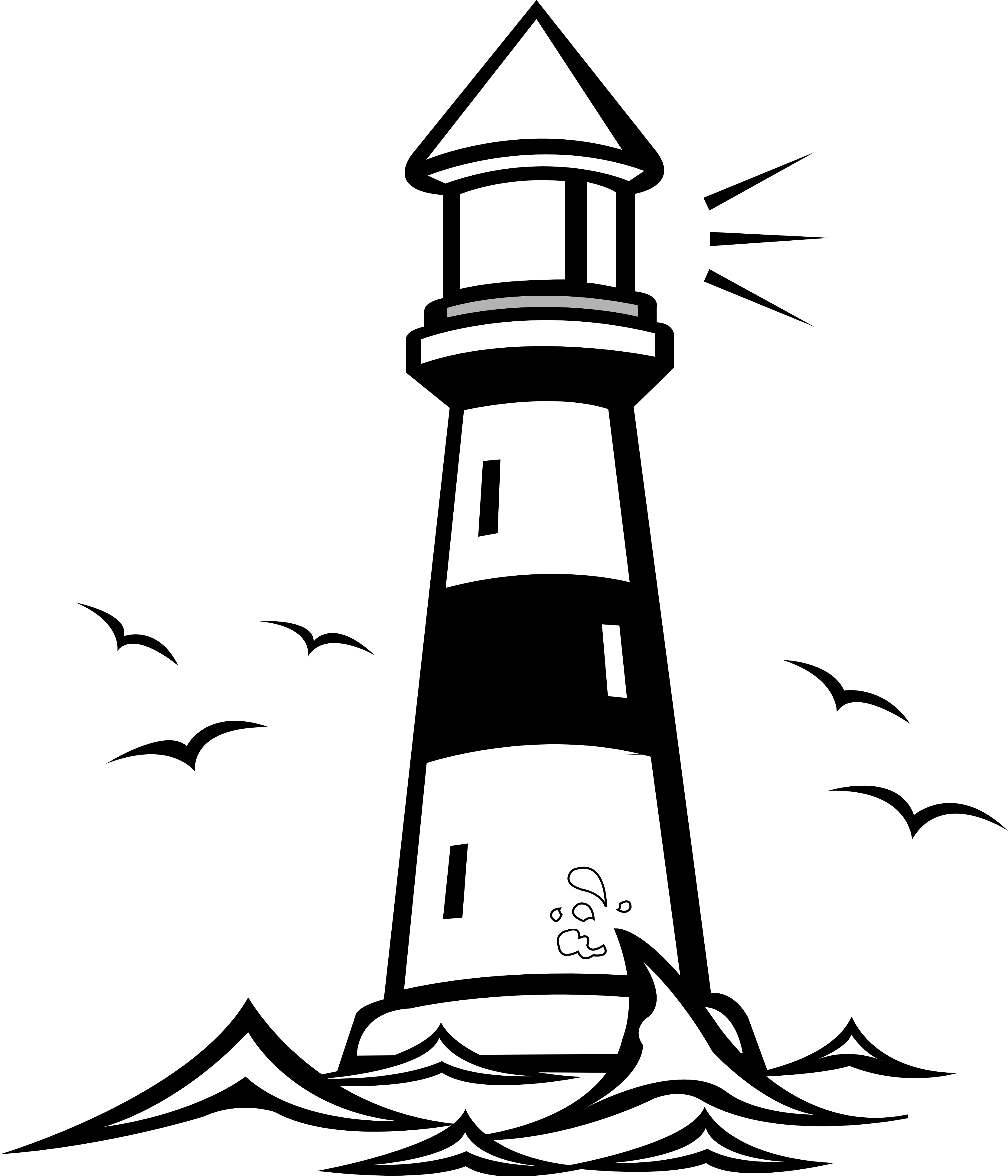 3333x3890 Black And White Light House Clipart