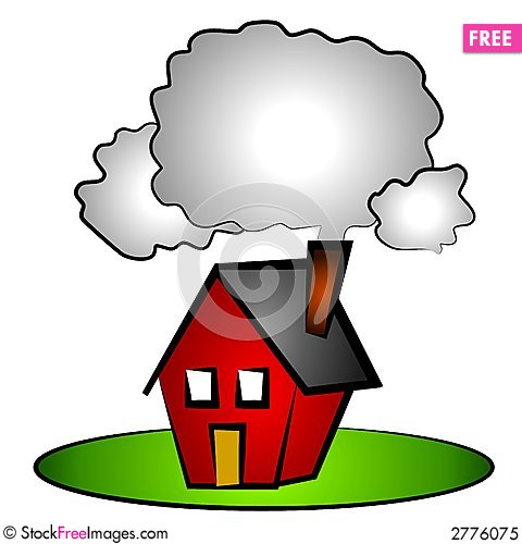 480x500 House Chimney Smoke Clip Art