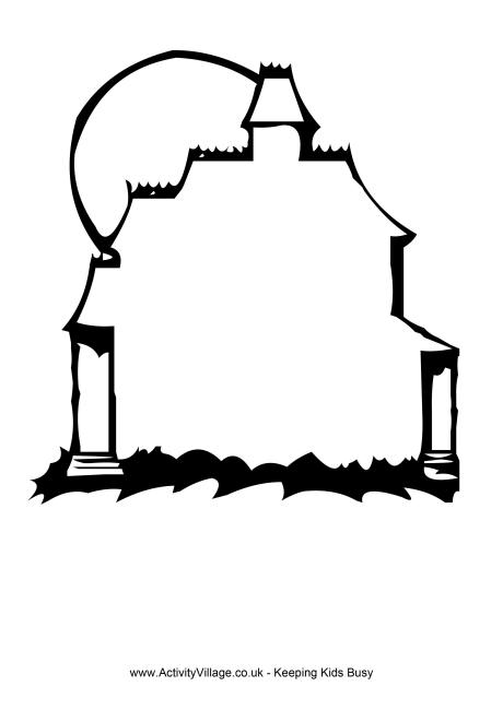 460x650 Haunted House Clipart Outline