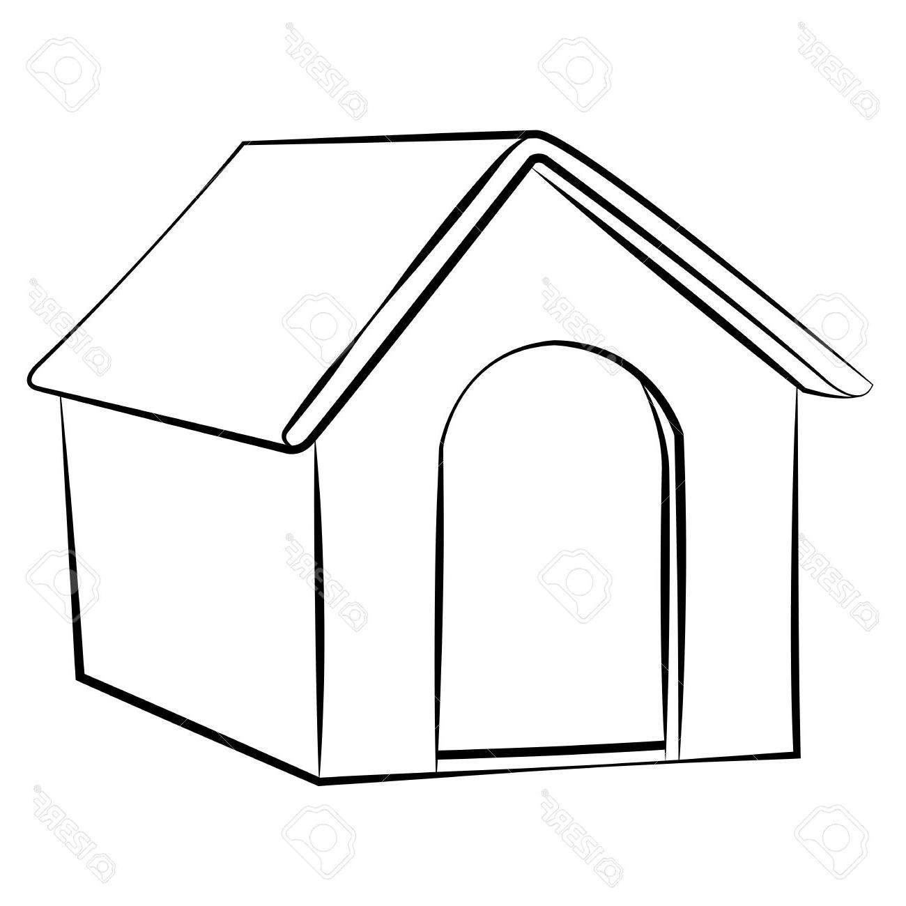 1300x1300 Best Outline Sketch Dog House Vector Illustration Stock White Image