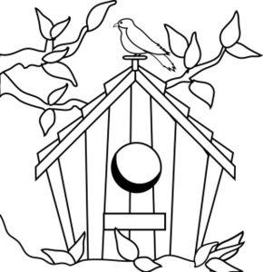 290x300 Bird House Clipart Outline