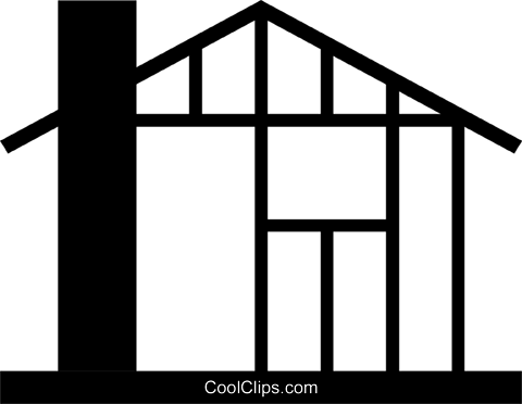 480x372 House Under Construction Royalty Free Vector Clip Art Illustration