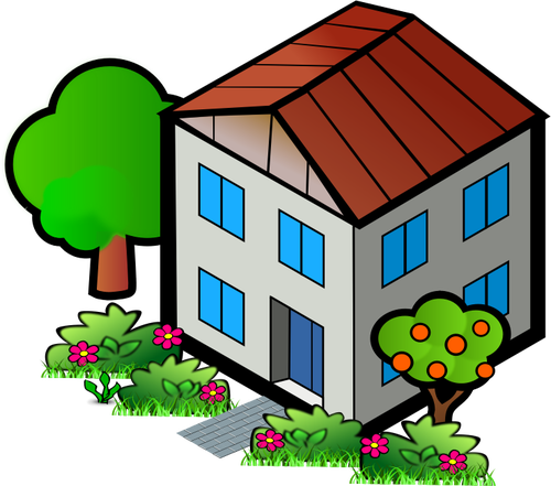 500x441 Vector Drawing Of Family Home With Trees Public Domain Vectors