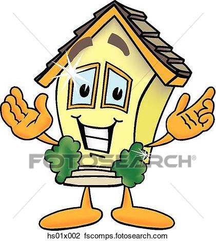 421x470 Clip Art Of House With Arms Open Hs01x002