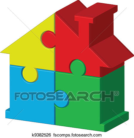 450x463 Clip Art Of House From Puzzles K9382526