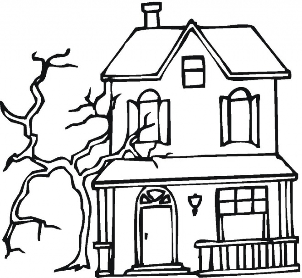 1024x940 Halloween Haunted House Coloring Pages Free 5057 Celebrations