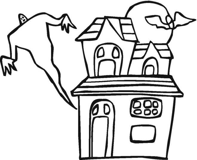 660x535 Haunted House Clipart Halloween Coloring Page