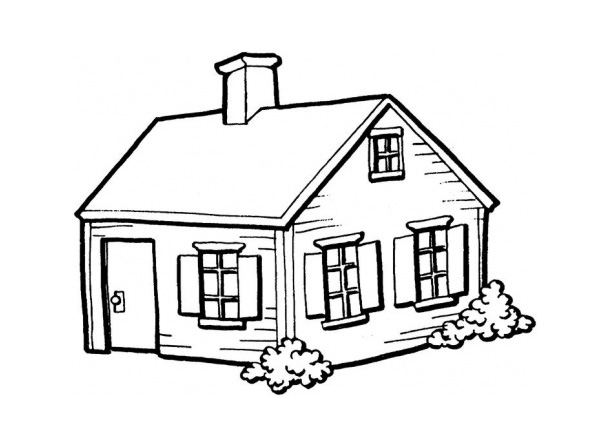 600x429 House Coloring Pages For Kindergarten
