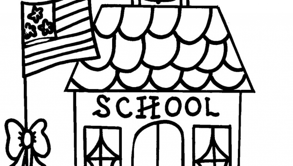 1024x580 School House Coloring Page Intended To Invigorate To Color Page