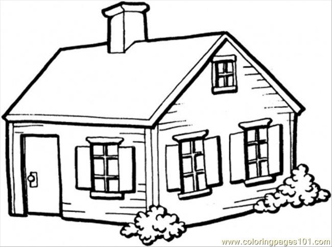 650x483 Small House In The Village Coloring Page