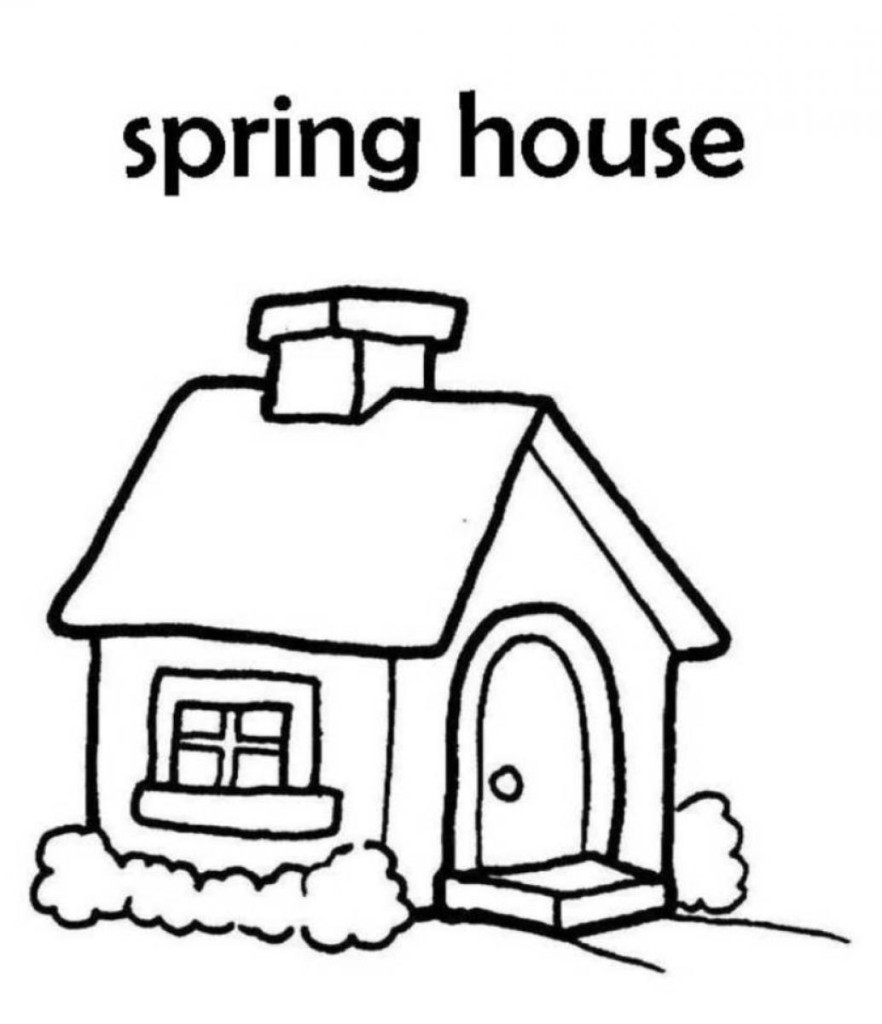 882x1024 Spring House Coloring Pages For Kids