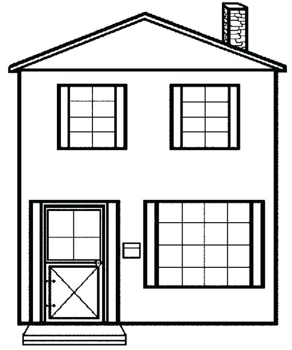 600x720 House Coloring Page
