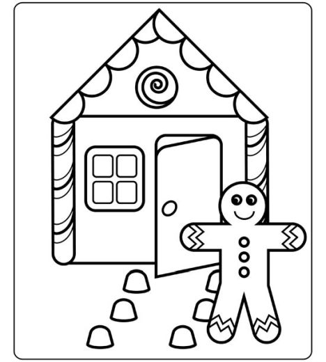 468x520 Christmas House Coloring Pages