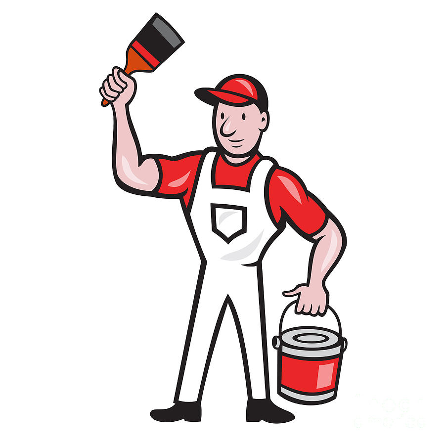 900x900 House Painter Holding Paint Can Paintbrush Cartoon Digital Art By