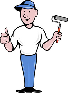 219x300 House Painter With Painting Roller Thumbs Up Royalty Free Stock