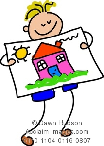 214x300 Image Of A Happy Little Boy Holding Up His Painting Of A House