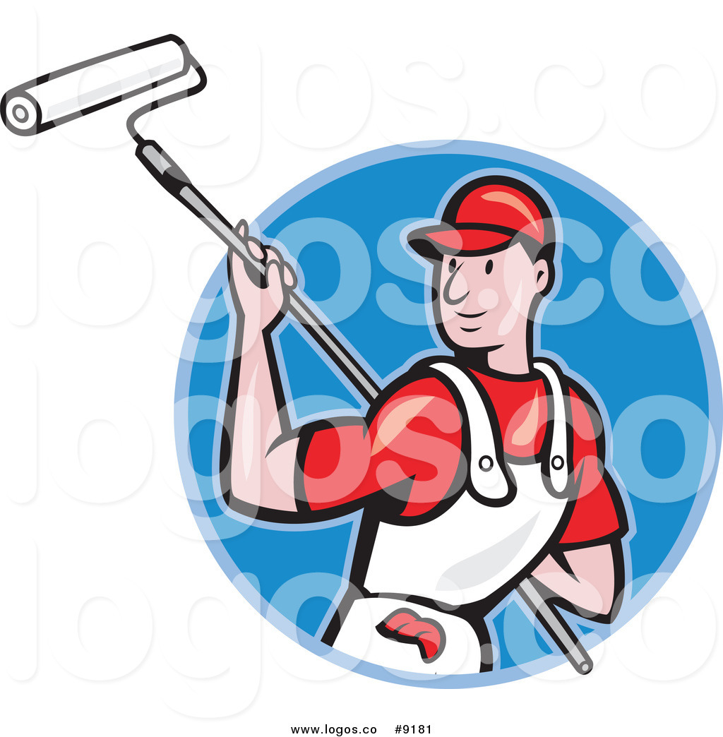 1024x1044 Royalty Free Clip Art Vector Logo Of A House Painter Worker Using