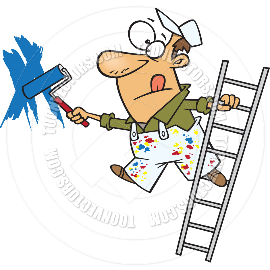 940x940 Cartoon House Painter On A Ladder By Ron Leishman Toon Vectors