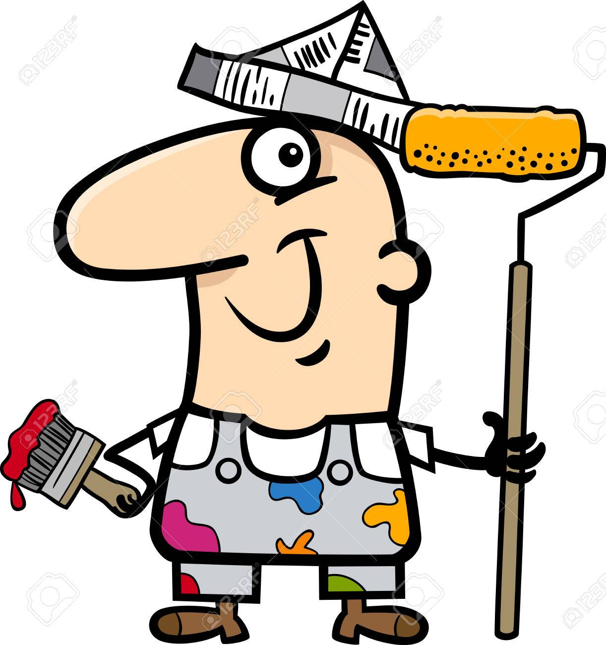 1222x1300 Cartoon Illustration Of Funny House Painter Worker Royalty Free