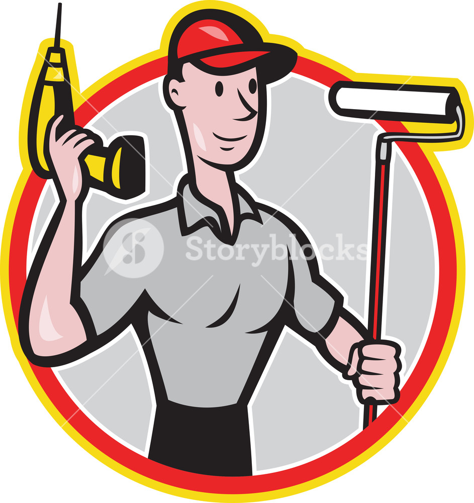 943x1000 House Painter Paint Roller Handyman Cartoon Royalty Free Stock