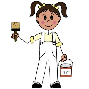 300x300 Little Girl Painting Clipart