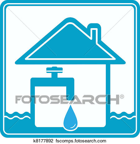 450x460 Clip Art Of Icon With House, Water Pipe And Fau K8177892