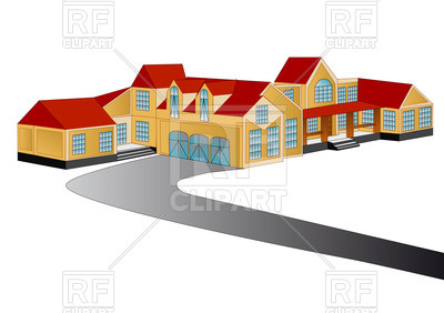 400x282 Village Houses And Road Royalty Free Vector Clip Art Image