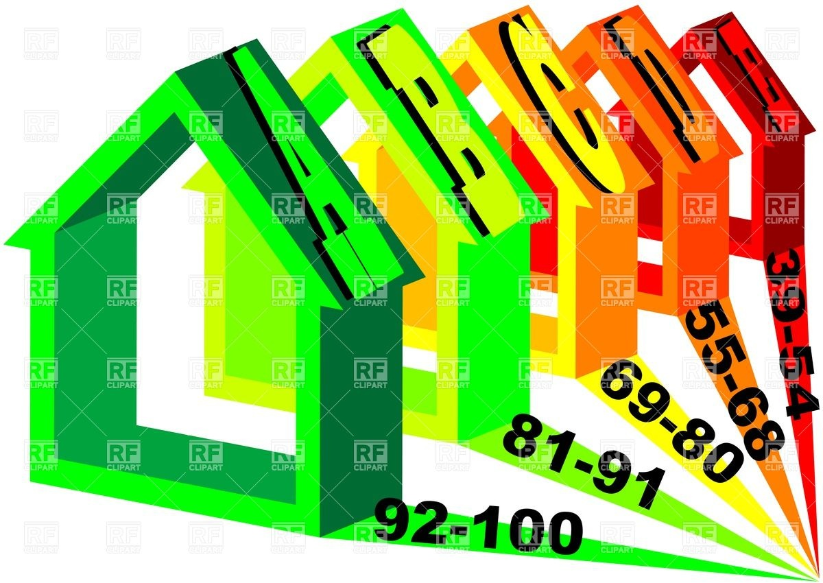 1200x850 Silhouettes Of Five Houses With Energy Efficiency Rating Royalty