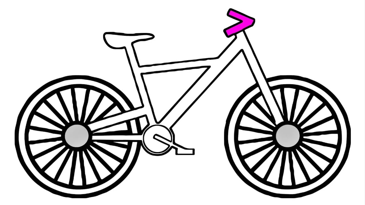 1280x720 How To Draw Bicycle For Kids Coloring Pages Youtube Videos Learn
