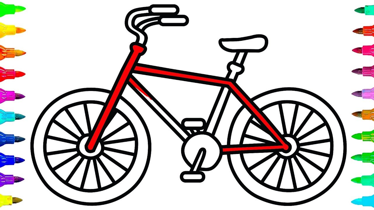 1280x720 How To Draw And Color A Bicycle For Kids Learn Colors For Kids