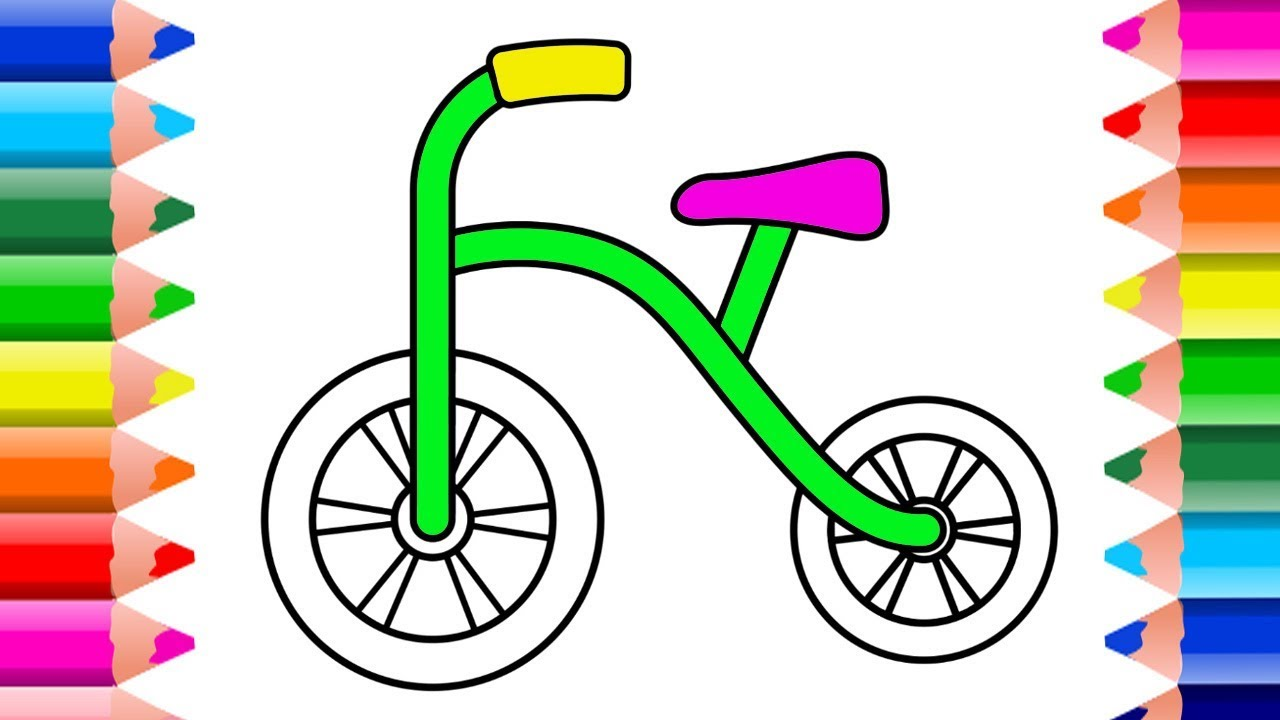 1280x720 Easy Drawing For Kids Colors Paint The Bike How To Draw Bike