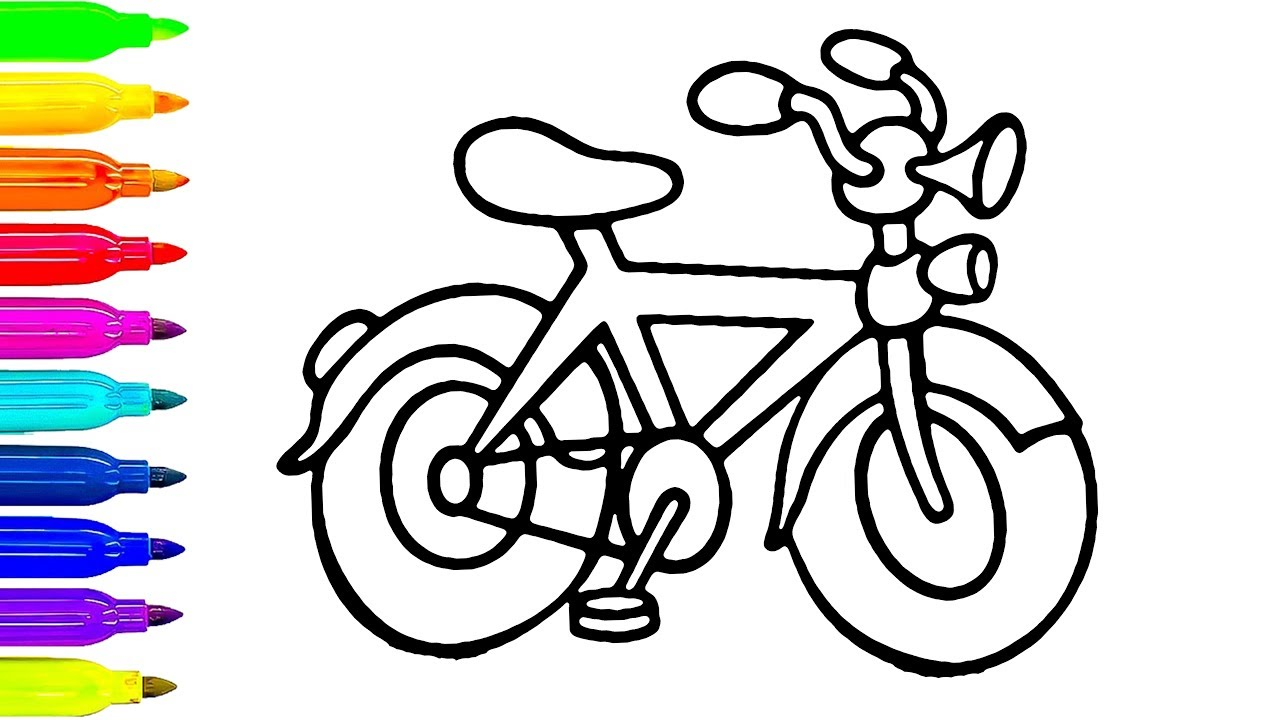 1280x720 Colorful Bicycle Drawing And Coloring For Children Art Colors