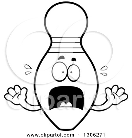 450x470 Lineart Clipart Of A Cartoon Black And White Scared Bowling Pin