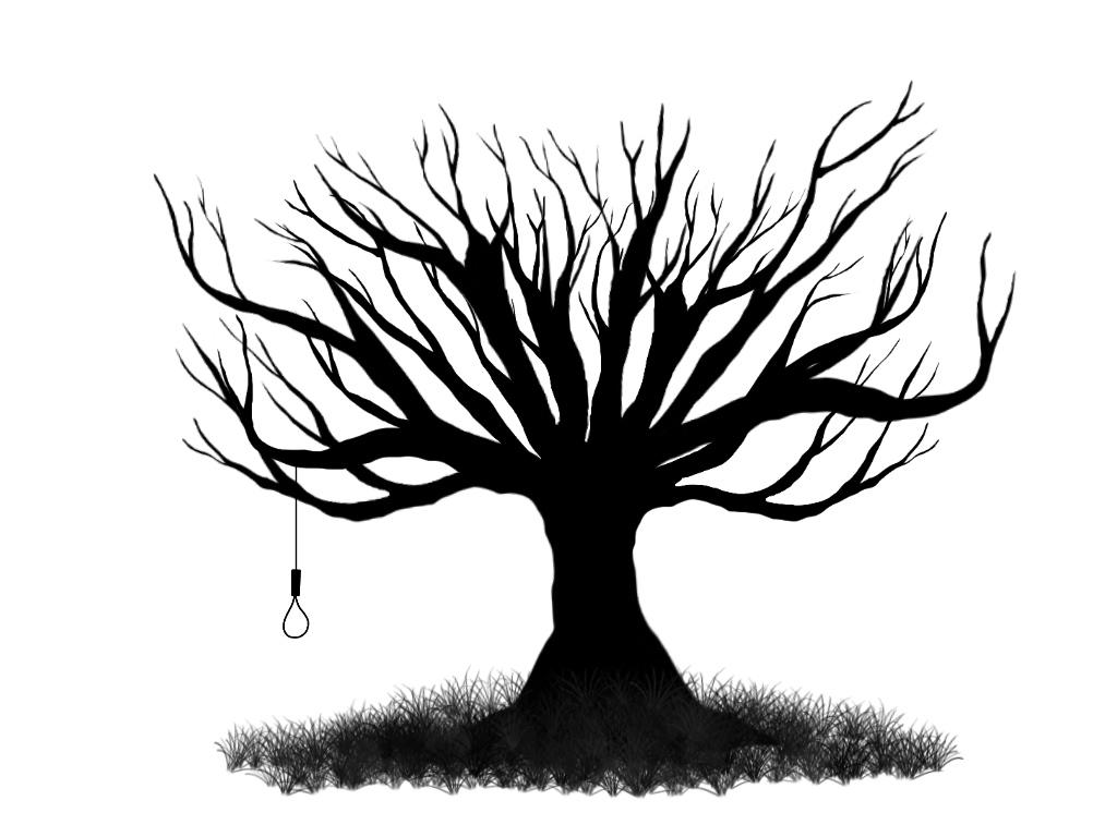 1024x768 Drawn Dead Tree Creepy