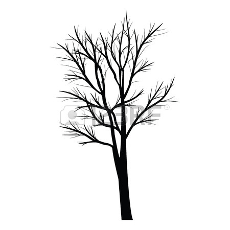 450x450 Old Tree Simple Line Vector Button. Imitation Draw With White