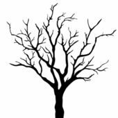 170x170 Tree Silhouette, Dry Tree Or Dead Tree On White On Background