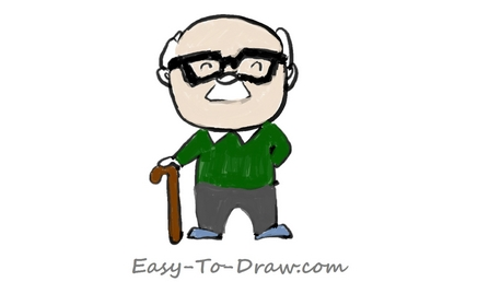 458x258 How To Draw A Cartoon Grandpa With A Cane In Hand For Kids Easy