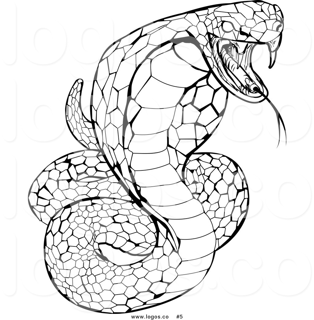 1024x1044 Royalty Free Stock Logo Of A Black And White Venomous Cobra Snake