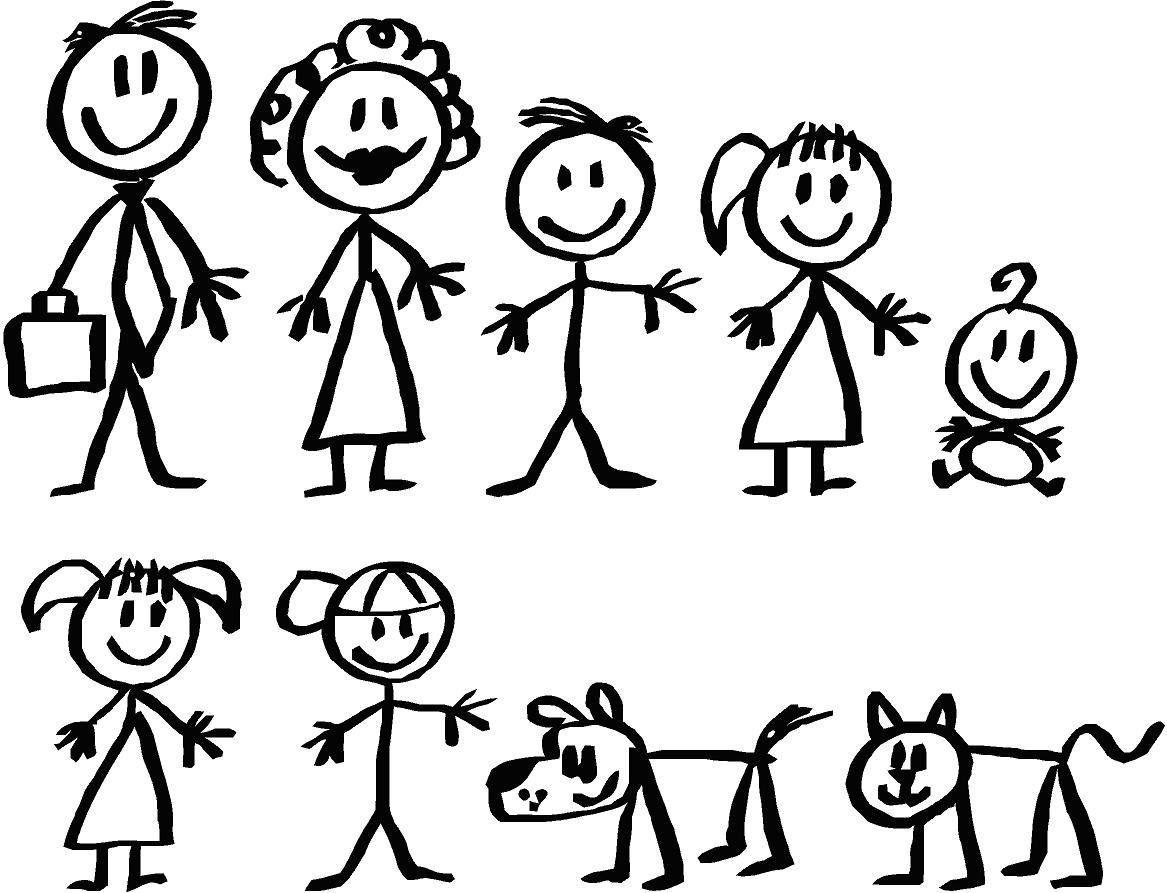 1167x893 Stick Figure Family Of 4 Group