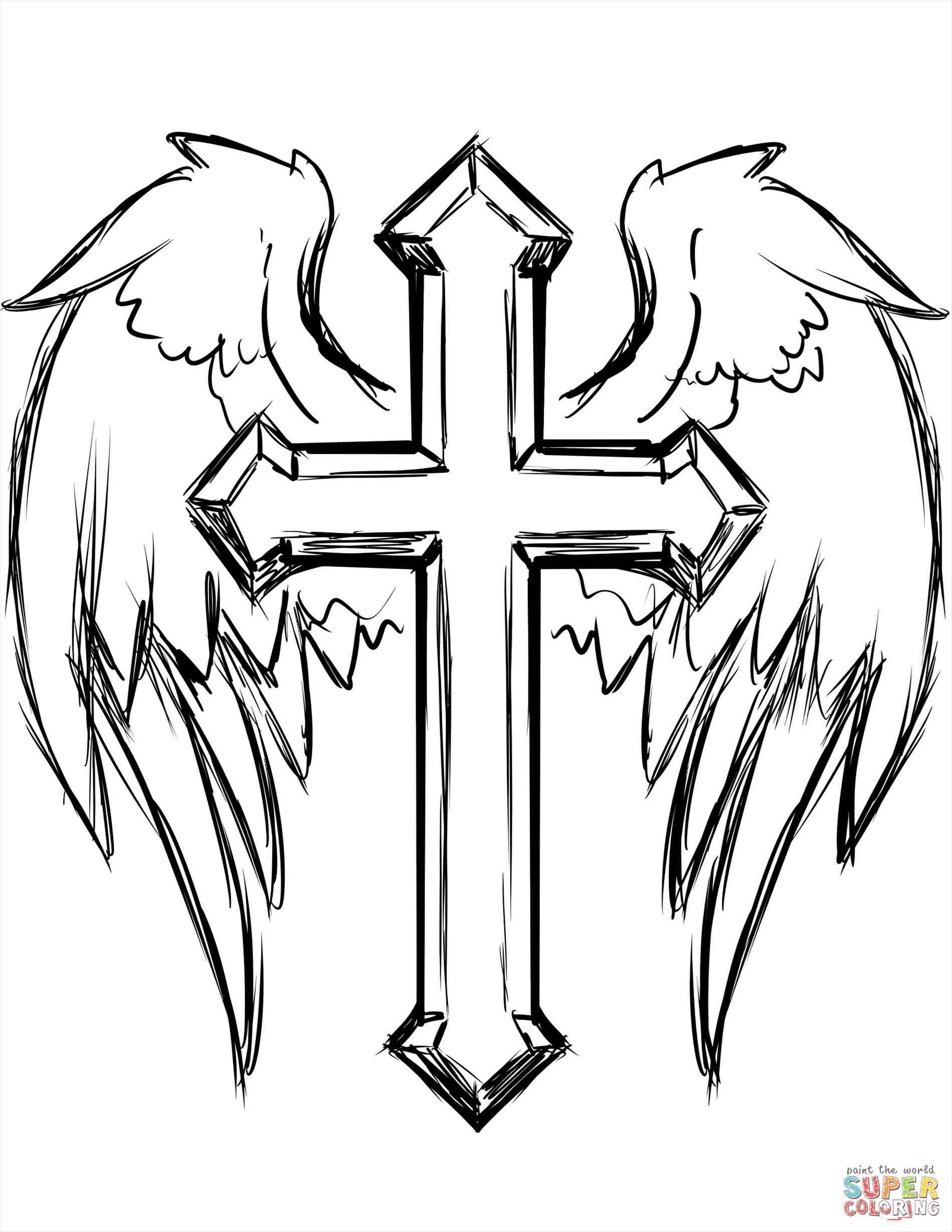 1899x2458 cool easy drawings of crosses with wings