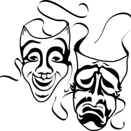268x268 How To Draw Drama Masks Clipart Best Theatre Mask Coloring Page