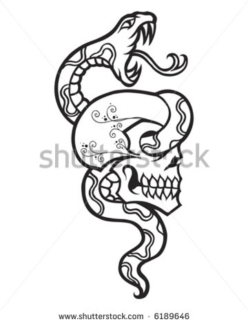 360x470 Vintage Tattoo Snake and Skull Tattoos for Bruce