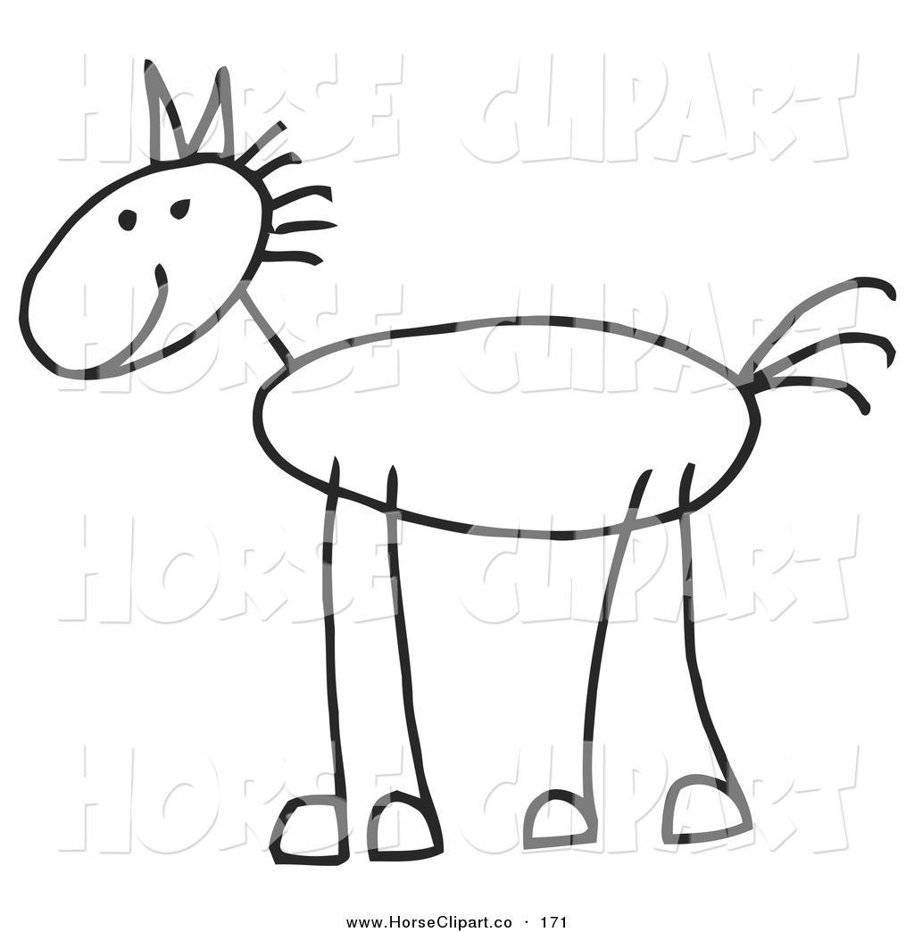 1024x1044 Clip Art Of A Happy Stick Figure Horse In Profile, Facing Left By