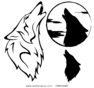 300x281 Stock Vector Howling Wolf Vector Illustration Outline Silhouette