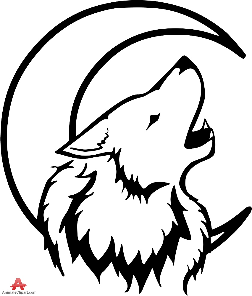 852x999 White Wolf Clipart Outline Howling