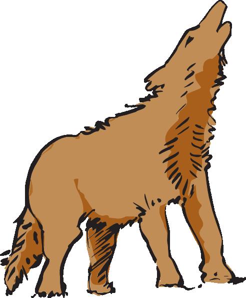 492x594 Howling Wolf Art Clip Art