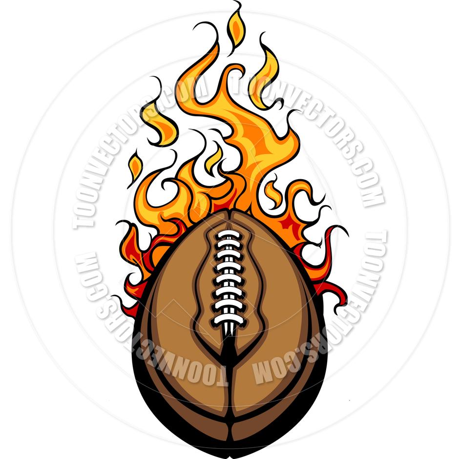 940x940 American Football Ball Flaming Vector Cartoon By Chromaco Toon