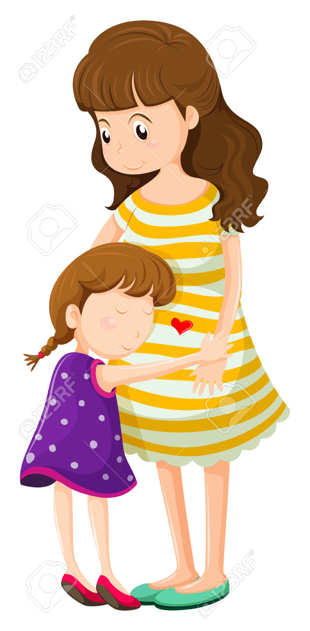 639x1300 Mother Hugging Daughter Clipart
